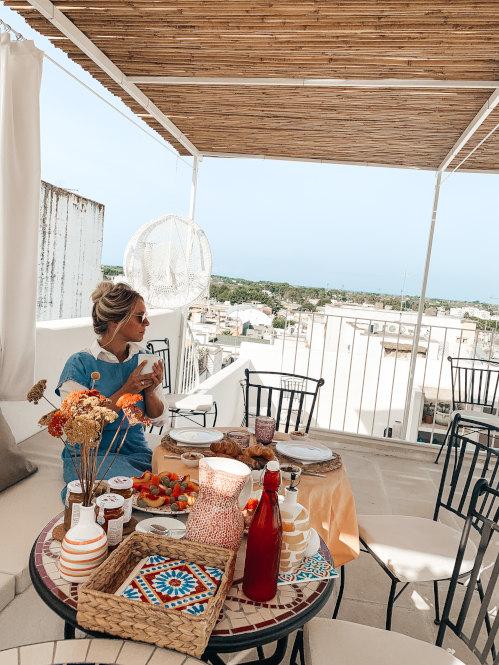 Frühstück auf der Dachterrasse des Palais Gentile