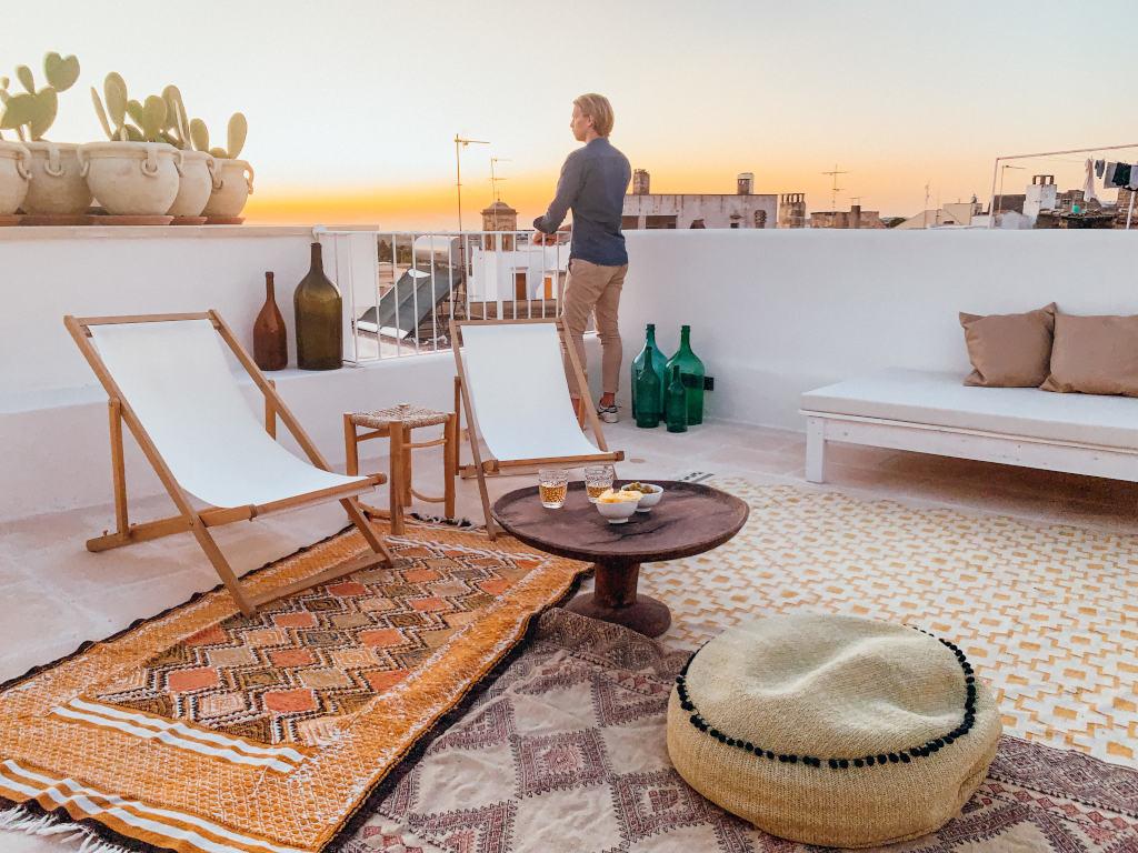 Sonnenuntergang Dachterrasse Hotel Apulien